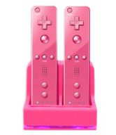 DUAL/TWIN CHARGING AND DOCKING STATION FOR WII REMOTES - PINK