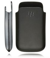 Black Genuine Leather Pouch Case for BlackBerry Bold 9900 9930 - HDW38844-001
